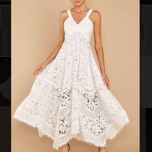 White Midi Full Skirt Flowing Dress